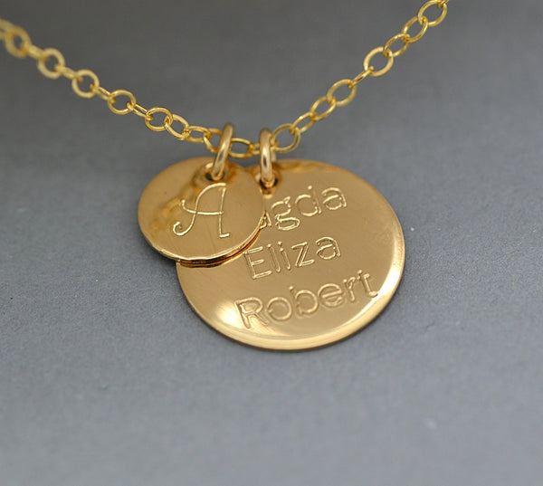 Personalized Disc Necklace, Custom Name Necklace, Initial Disc - MalizBIJOUX