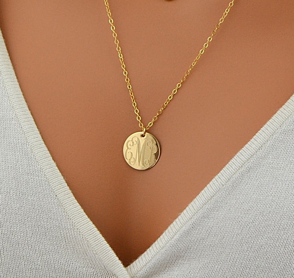Layered Necklace, Engraved Disc Necklace, Monogram Disc Necklace