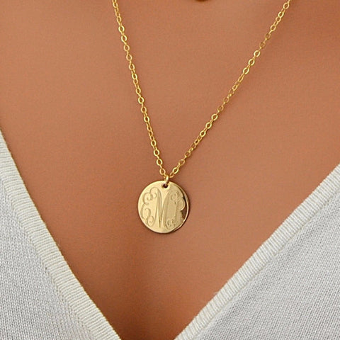 Monogram Disc Necklace,  Engraved Disc Necklace - MalizBIJOUX