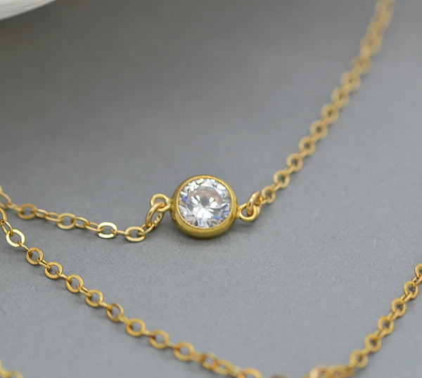 Layered Necklace Set, Monogram Necklace, CZ Diamond Necklace
