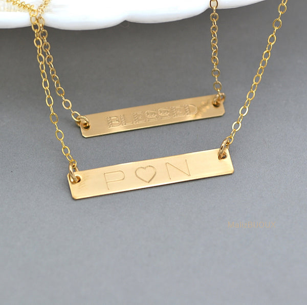 Personalized Bar Necklace Layered, Double Bar Necklace, Two Name