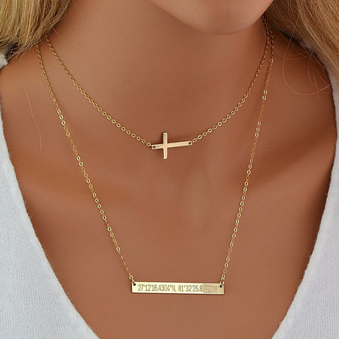 Cross Necklace, Choker Necklace, Layered Bar Necklace - MalizBIJOUX