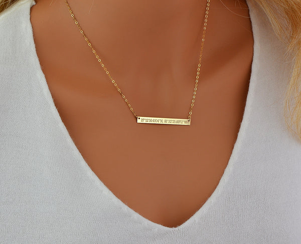 Bar Necklace, Name or Coordinates Necklace, Gold, Silver, Rose Gold - MalizBIJOUX