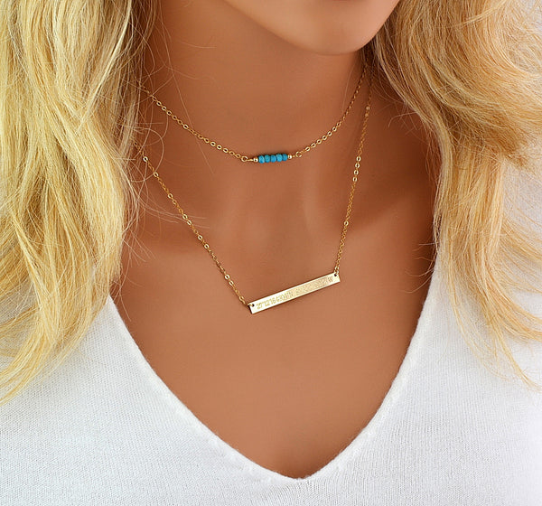 Birthstone Bar Necklace, Choker Necklace, Layered Necklace Bar Engraved