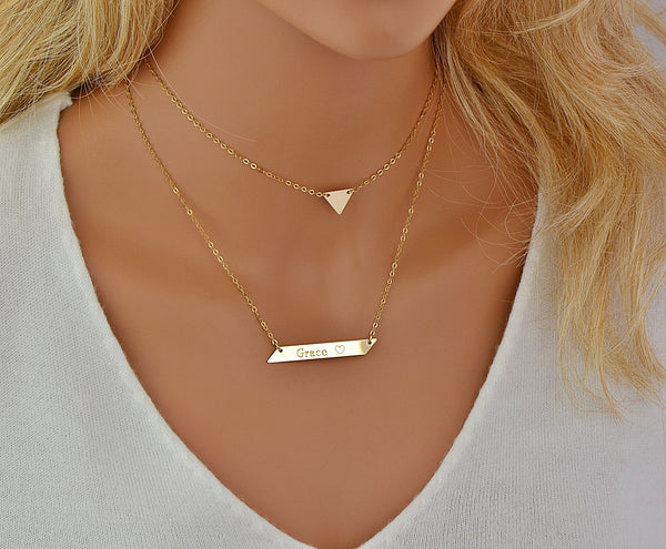 Triangle Necklace, Choker Necklace, Custom Bar Necklace Engraved