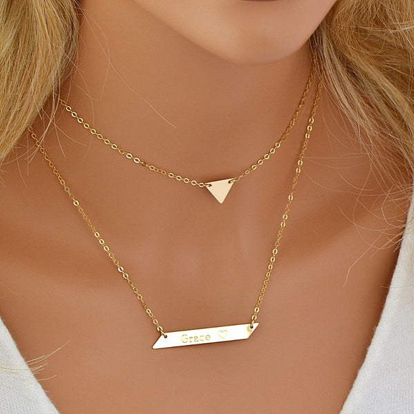 Triangle Necklace, Choker Necklace, Custom Bar Necklace Engraved - MalizBIJOUX