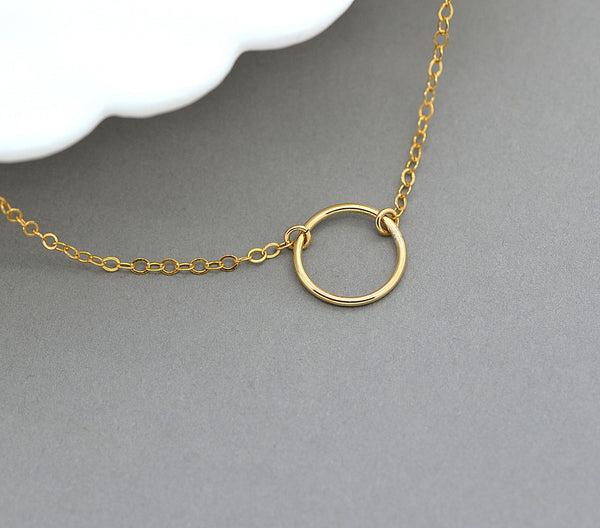 Circle Necklace, Dainty Choker Necklace, Delicate Circle Necklace - MalizBIJOUX