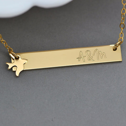 Dove Necklace, Swallow Necklace, Engraved Bar Necklace - MalizBIJOUX