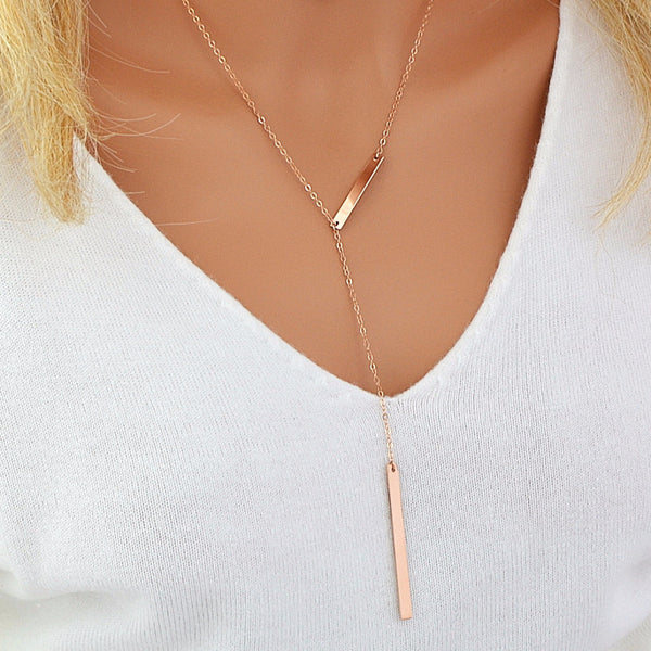 Delicate Y Necklace, Long Lariat Necklace Gold, Silver, Rose Gold - MalizBIJOUX