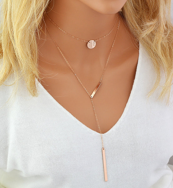 Monogram Neclace, Engraved Disc Necklace, Choker Necklace - MalizBIJOUX