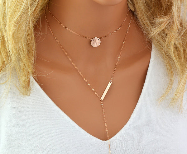 Monogram Choker Neclace, Engraved Y Necklace, Lariat Bar Necklace