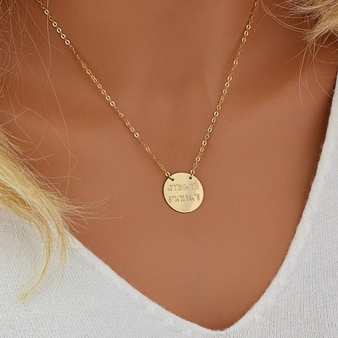 Coordinates Necklace, Disc Necklace Engraved - MalizBIJOUX