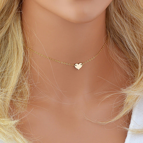 Initial Heart Necklace, Heart Choker Necklace, Tiny Heart Necklace - MalizBIJOUX