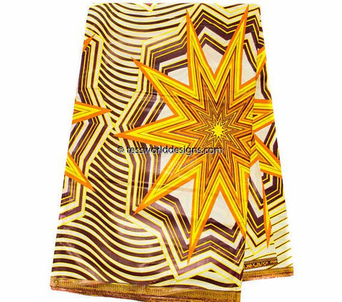 WP1006-African Fabric yellow, brown/6 yards