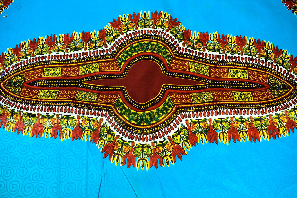 Turquoise/red poly cotton Dashiki Fabric 6 yards/ DS100