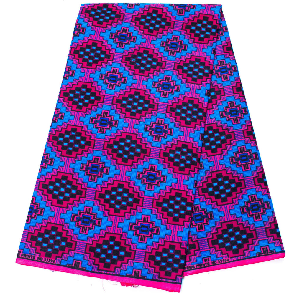 Blue/Pink Exclusive kente fabric, 6 yards/ Ankara Print /Kente print/ Kente Cloth/ African Fabric/ tessworlddesigns KF349 - Tess World Designs, LLC