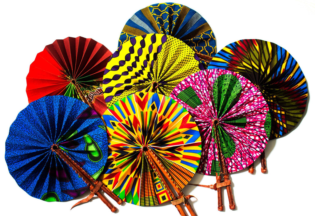 Random African fabric fan/  Made in Africa/ Ankara fan/ 5 fans AC65
