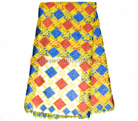 GL18- Guipure Cord Lace fabric,Yellow,blue, Red  5 yards - Tess World Designs