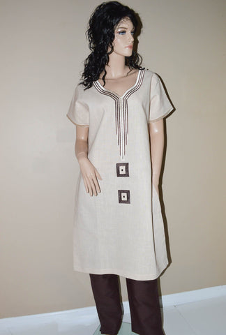 WD03 - Women Linen suits beige/brown - Tess World Designs