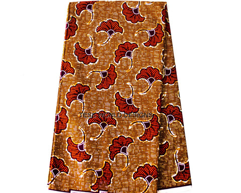 Brown African Print Fabric-Odum leaf - Tess World Designs