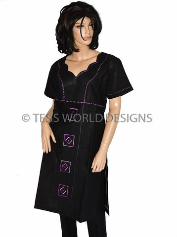 WD04 - Women Linen Suit, Black/Purple, Diamond - Tess World Designs