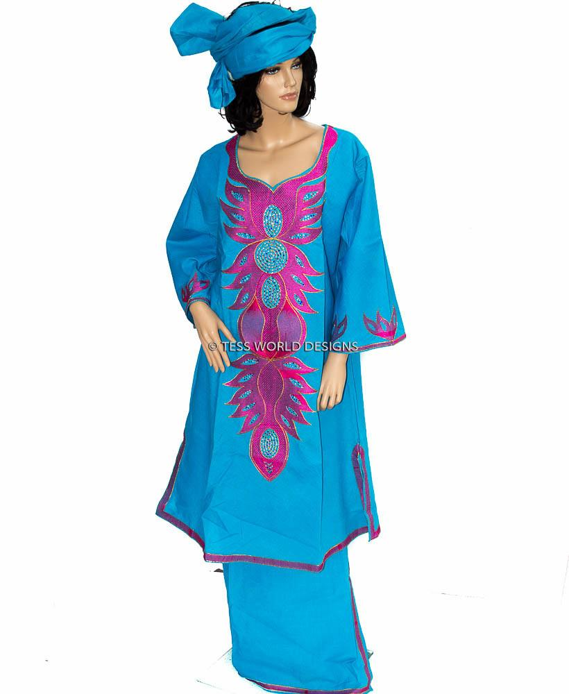 WD05- Women's 3 piece Linen wrap Clothing, blue/Pink - Tess World Designs