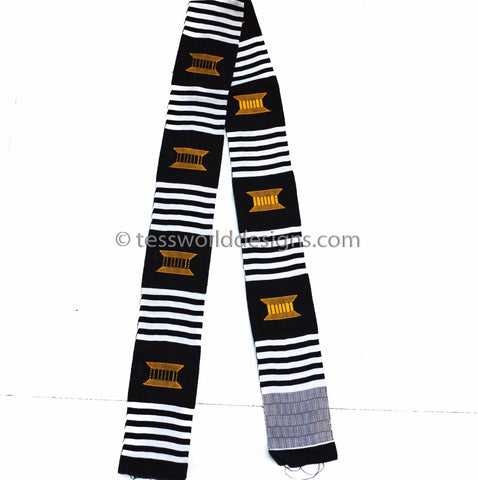KS02- Hand-Woven Kente Stole, Sash, black, white and gold. - Tess World Designs