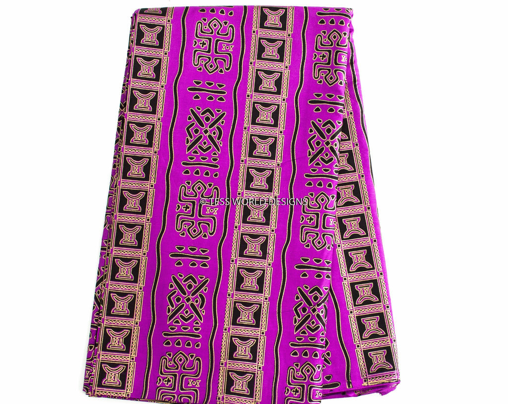 WP134 - African tribal  fabric, Purple golden stool  6 yards - Tess World Designs