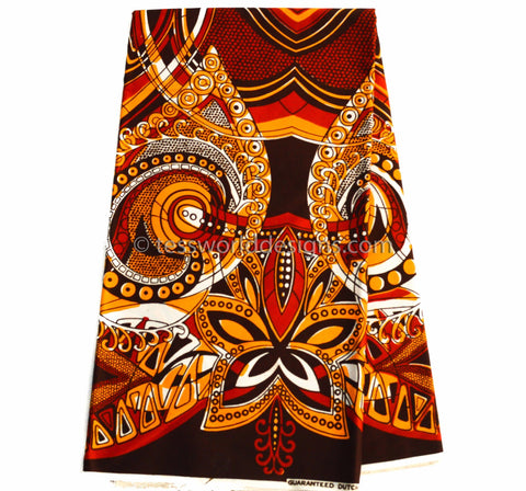 HW07- Orange authentic Vlisco Holland - abstract 6 yards - Tess World Designs  - 1