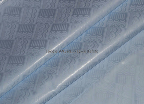 B87 -High quality Guinea brocade, Bazin riche fabric, light blue 5 yards - Tess World Designs