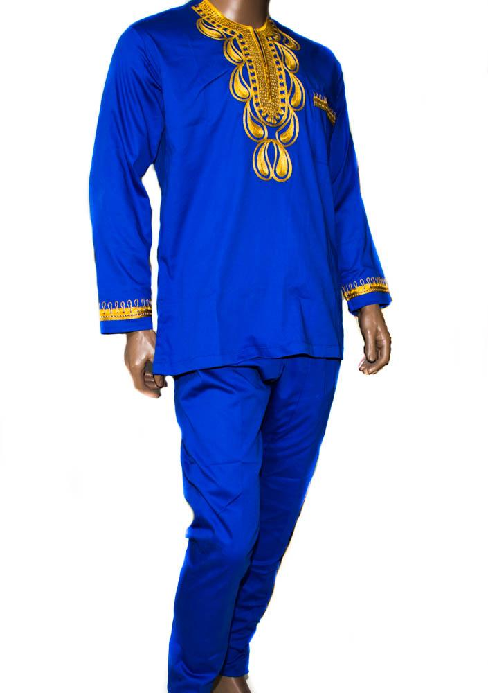 Royal Blue 2 way stretched, embroidered polished cotton pant suit, made in Ghana  MW15