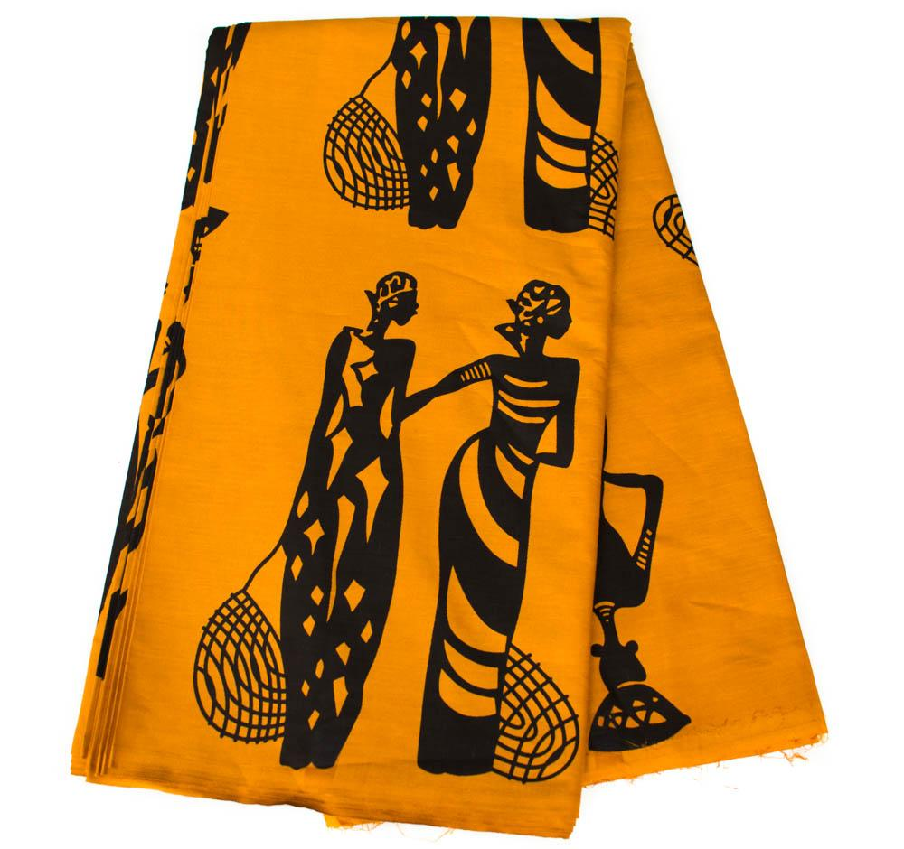 Traditional African Fabric, industrious women, Brownish Gold by the yard- TP10B