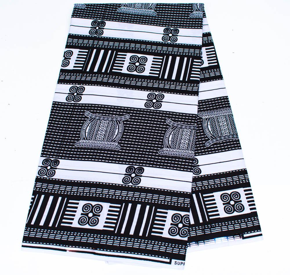 African fabric 6 yards, Ankara Fabric, black and white Ashanti stool material/ WP1244 - Tess World Designs, LLC