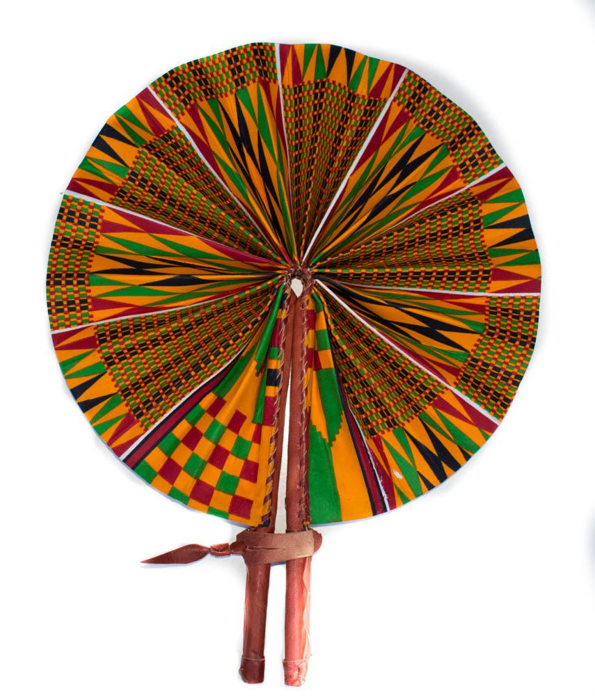 African Fabric fan, minuia - AC70 - Tess World Designs, LLC
