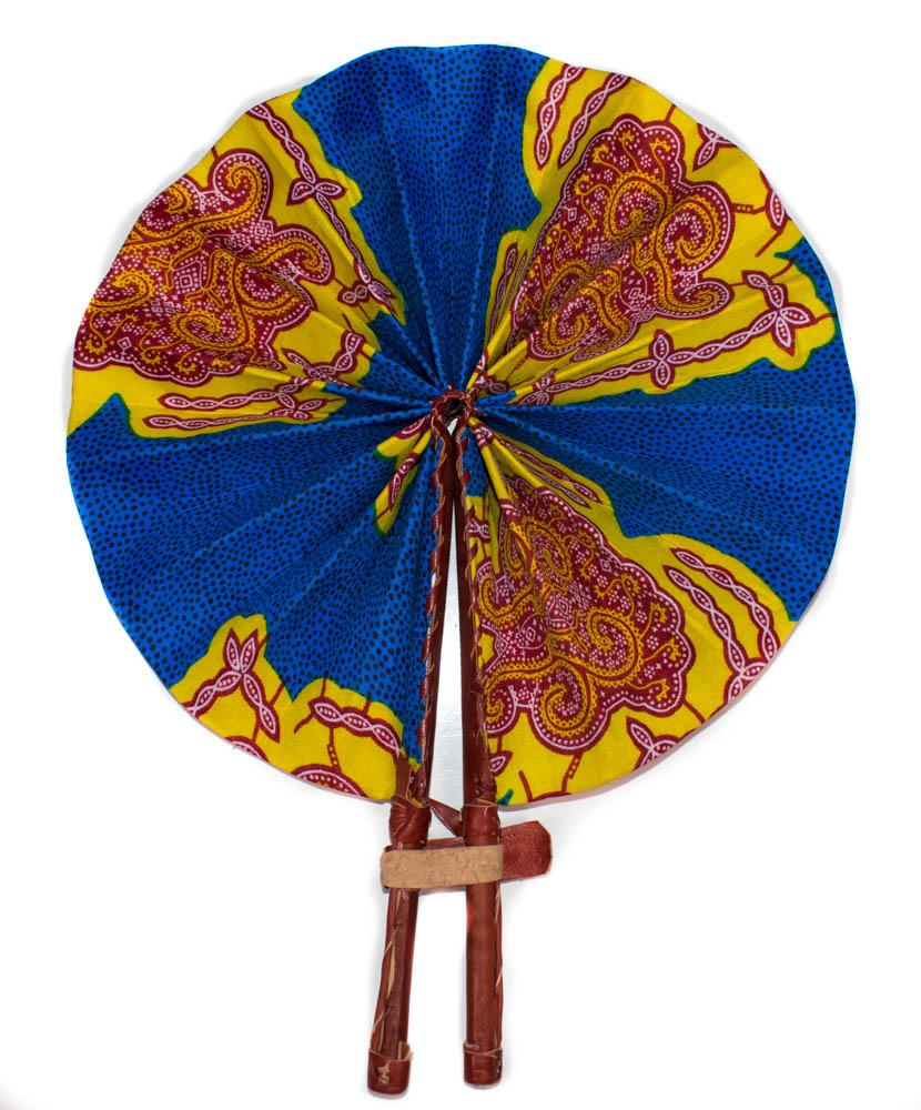 African Fabric fan, turtle back AC73 - Tess World Designs, LLC