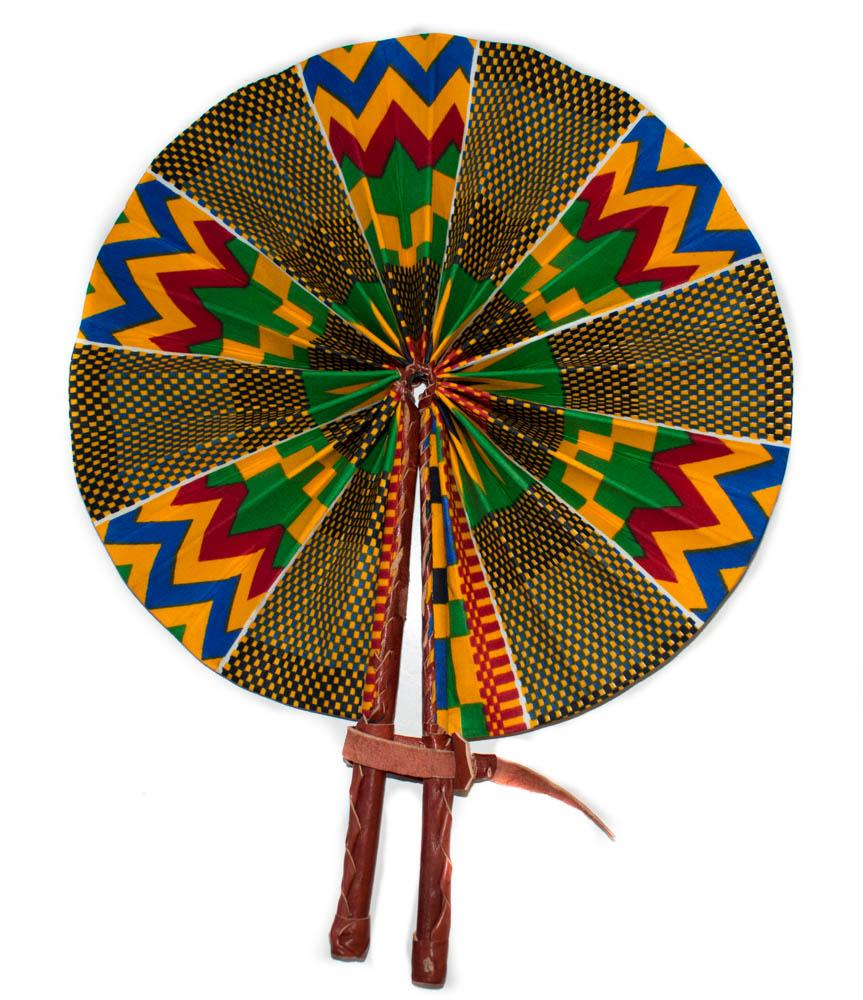 African Fabric fan, kente fan, minuia AC70 - Tess World Designs, LLC