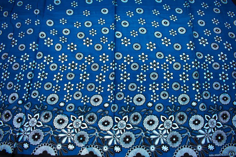 Kanga fabric from Kenya, African Fabric, 2 panels blue floral KG85