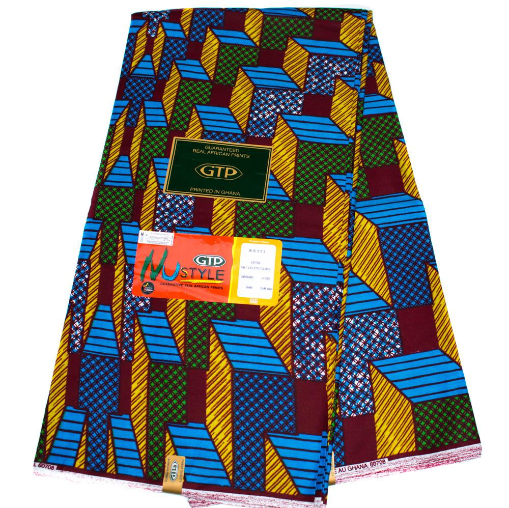 African fabric by the yard, authentic/ made in Ghana/ blocks WP1251B - Tess World Designs, LLC
