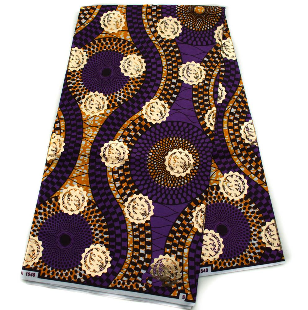 African fabric 6 yards| Metallic Purple and Gold | Gye Nyame| OM6 - Tess World Designs, LLC