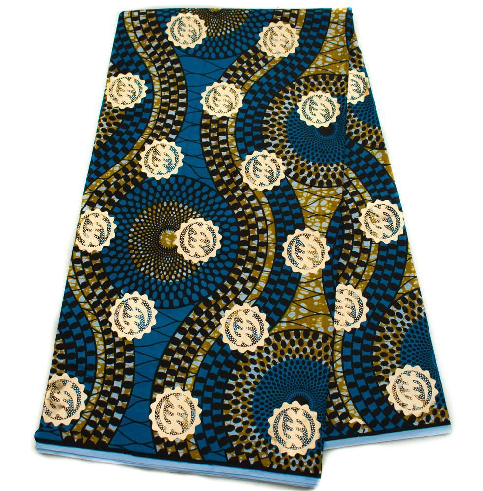 Best African fabric 6 yards| Metallic Blue and Gold | Gye Nyame| OM8 - Tess World Designs, LLC