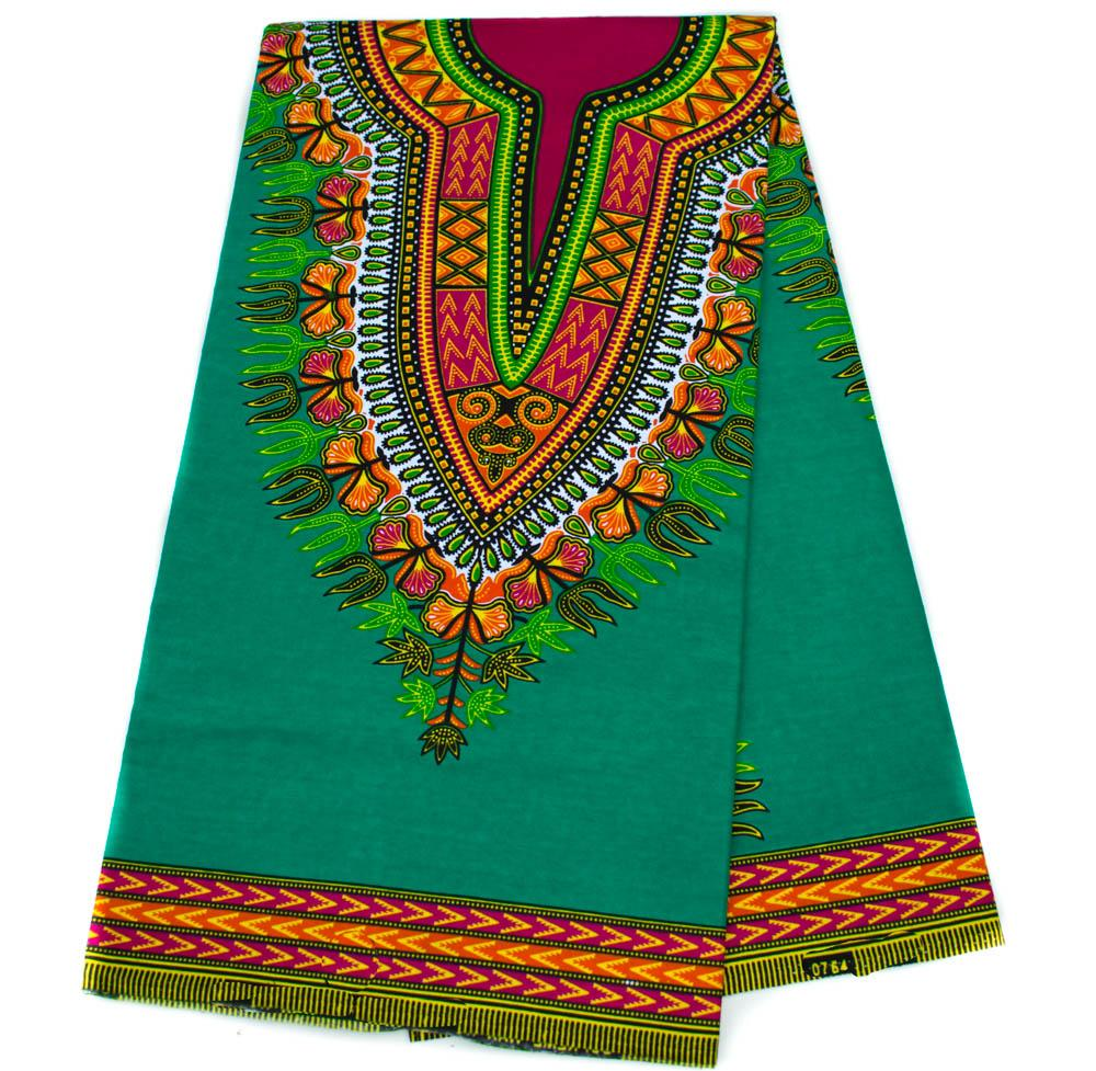 Green Dashiki Fabric per panel, African fabric small design DS110B