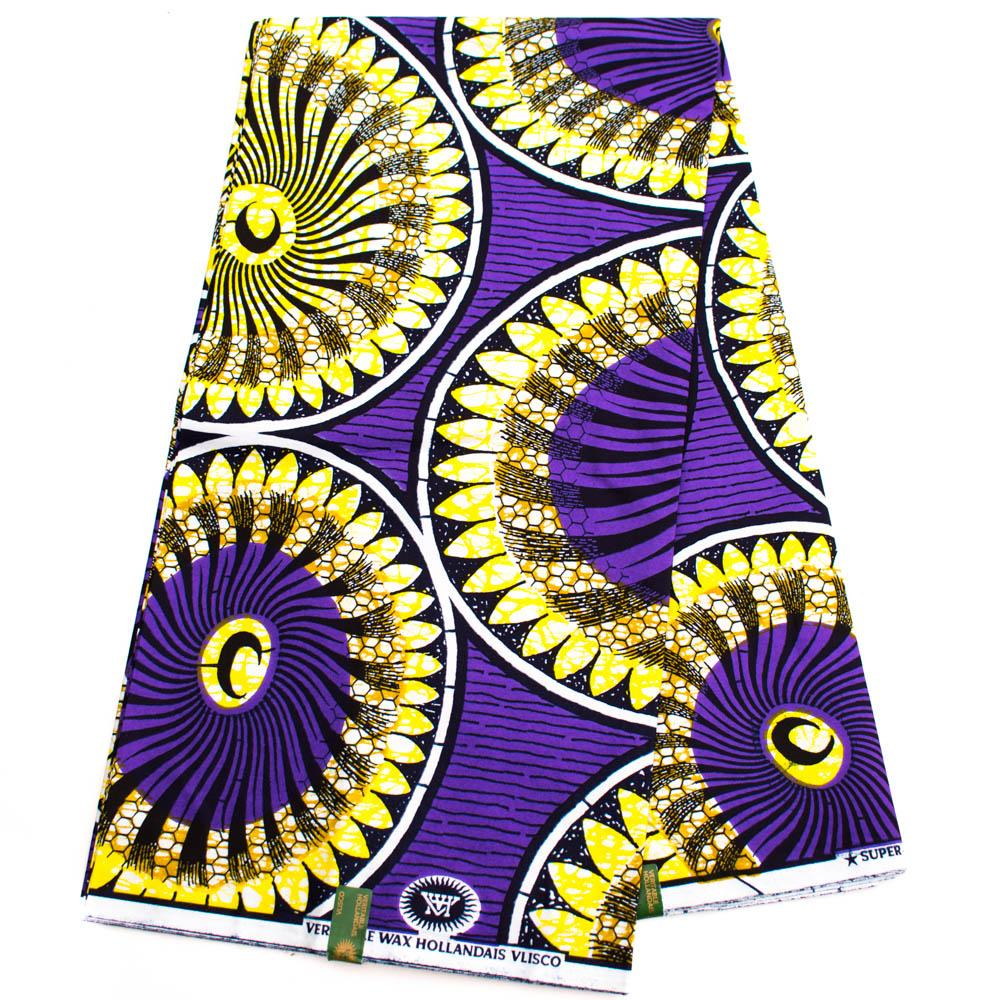Authentic Vlisco super wax/ African fabric 6 yards/ purple Topper HW76 - Tess World Designs, LLC