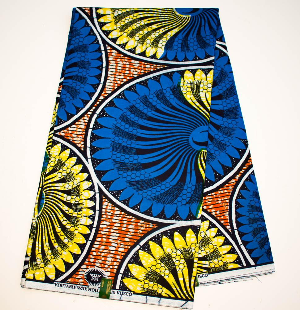 Authentic Vlisco super wax/ African fabric 6 yards/ blue Topper HW77 - Tess World Designs, LLC