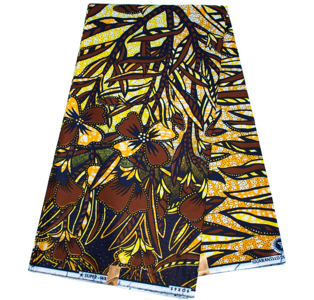 Authentic Vlisco super wax/ African fabric 6 yards/ brown harvest HW78 - Tess World Designs, LLC