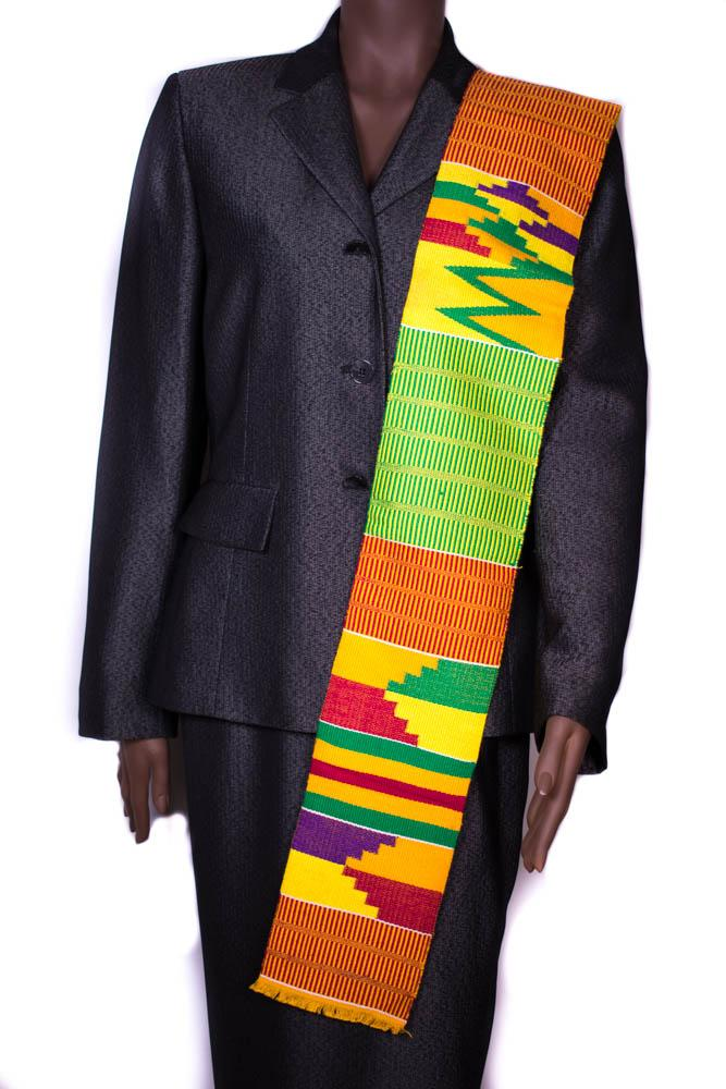 Hand woven Kente stole, from Ghana Amasewa KS12