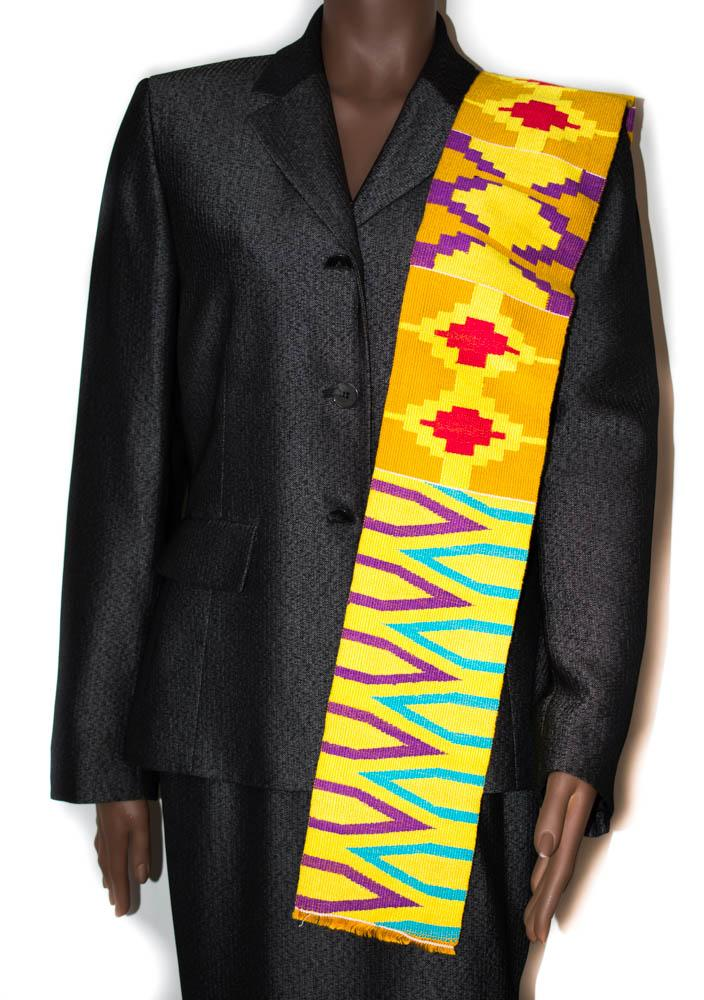 Hand woven Kente stole, from Ghana Kudzro KS13