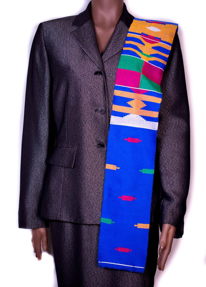 Hand woven Kente stole, from Ghana Mawuli KS14