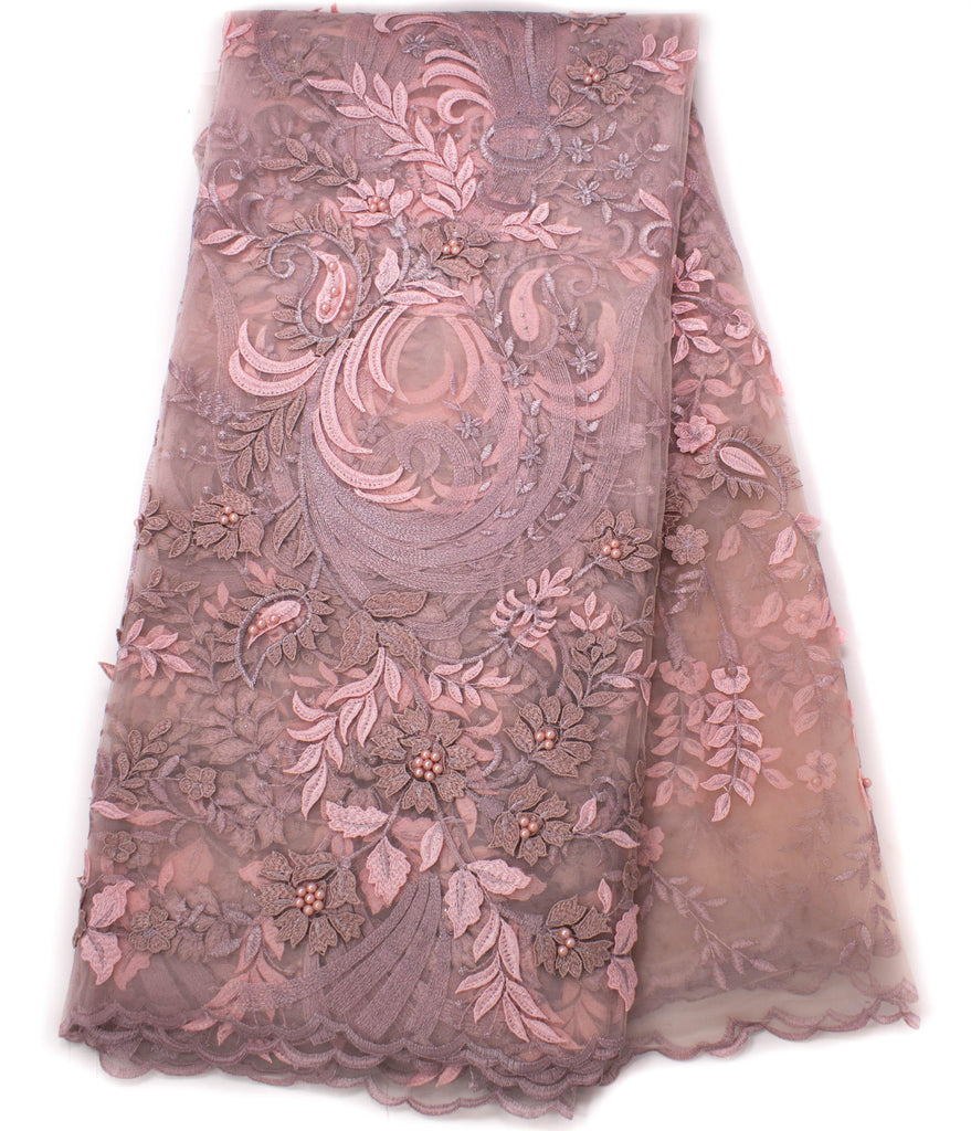 Net Lace fabric, High quality dusty rose African lace/ 5 yards NL65