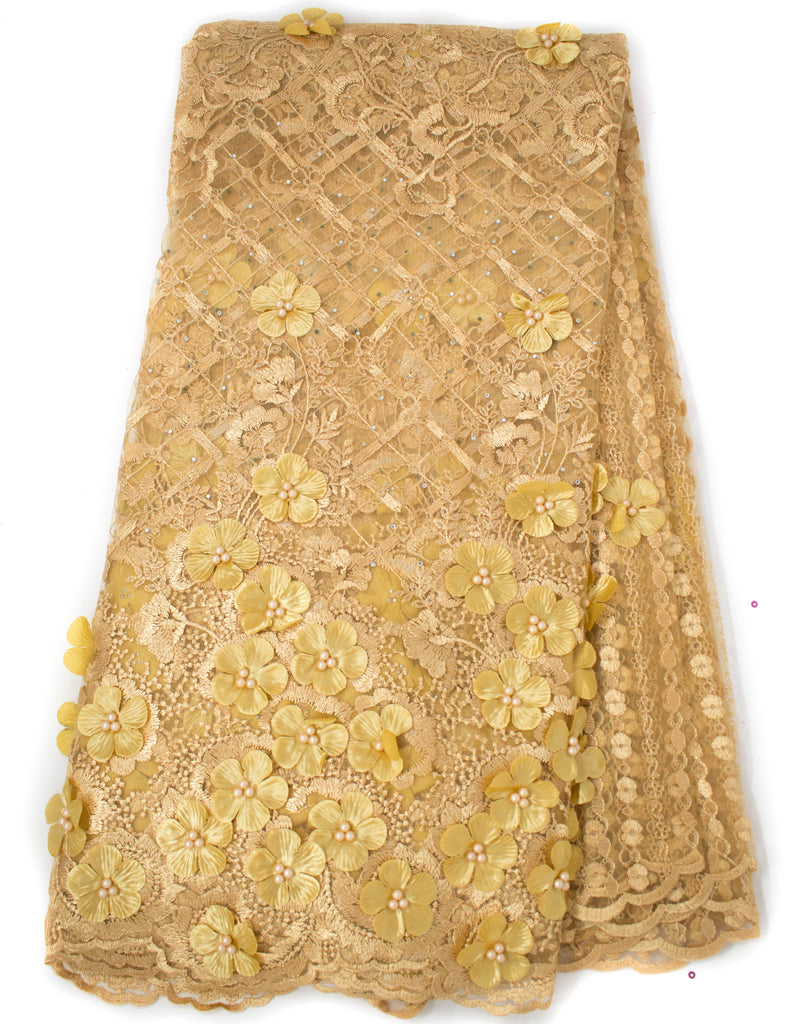 Exclusive Net Lace fabric, High quality gold bead African lace/ 5 yards NL71
