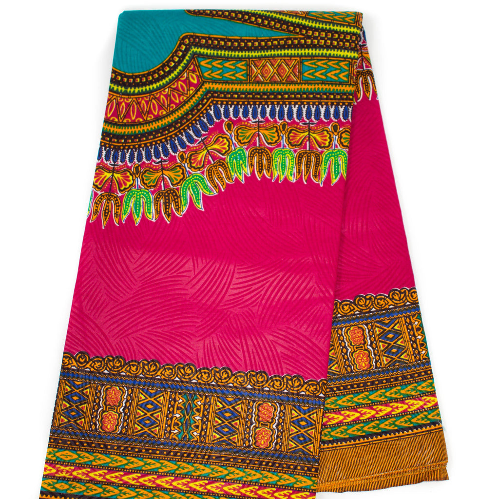 DS60 -  Fuchsia/ Teal Dashiki Fabric, Large design 6 yards